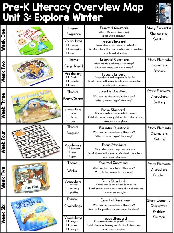 Pre K Literacy Curriculum Unit 3 Explore Winter