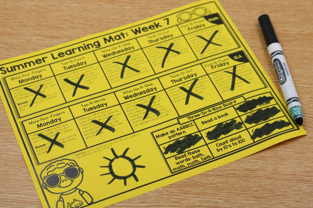 kindergarten summer learning mats