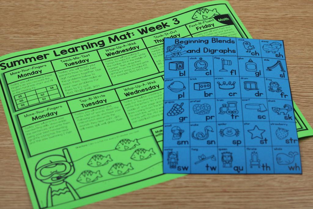 kindergarten summer learning mats