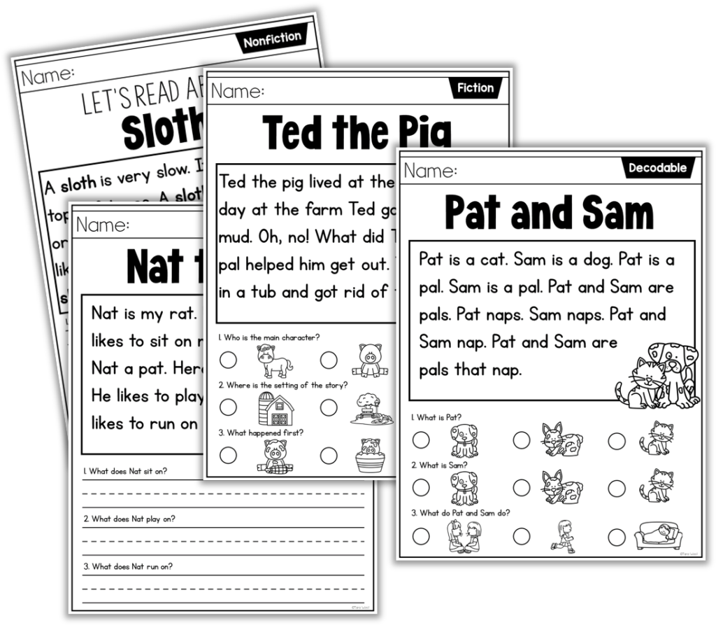 Reading comprehension in kindergarten with reading passages.